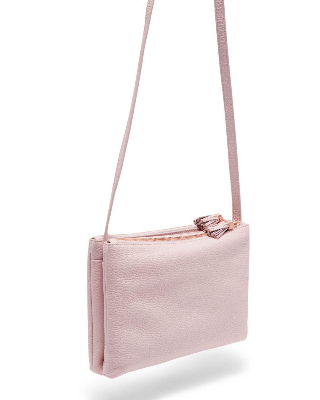 ee27adfafbe05e Lyst - Ted Baker Maceyy Medium Leather Crossbody in Pink - Save 48%