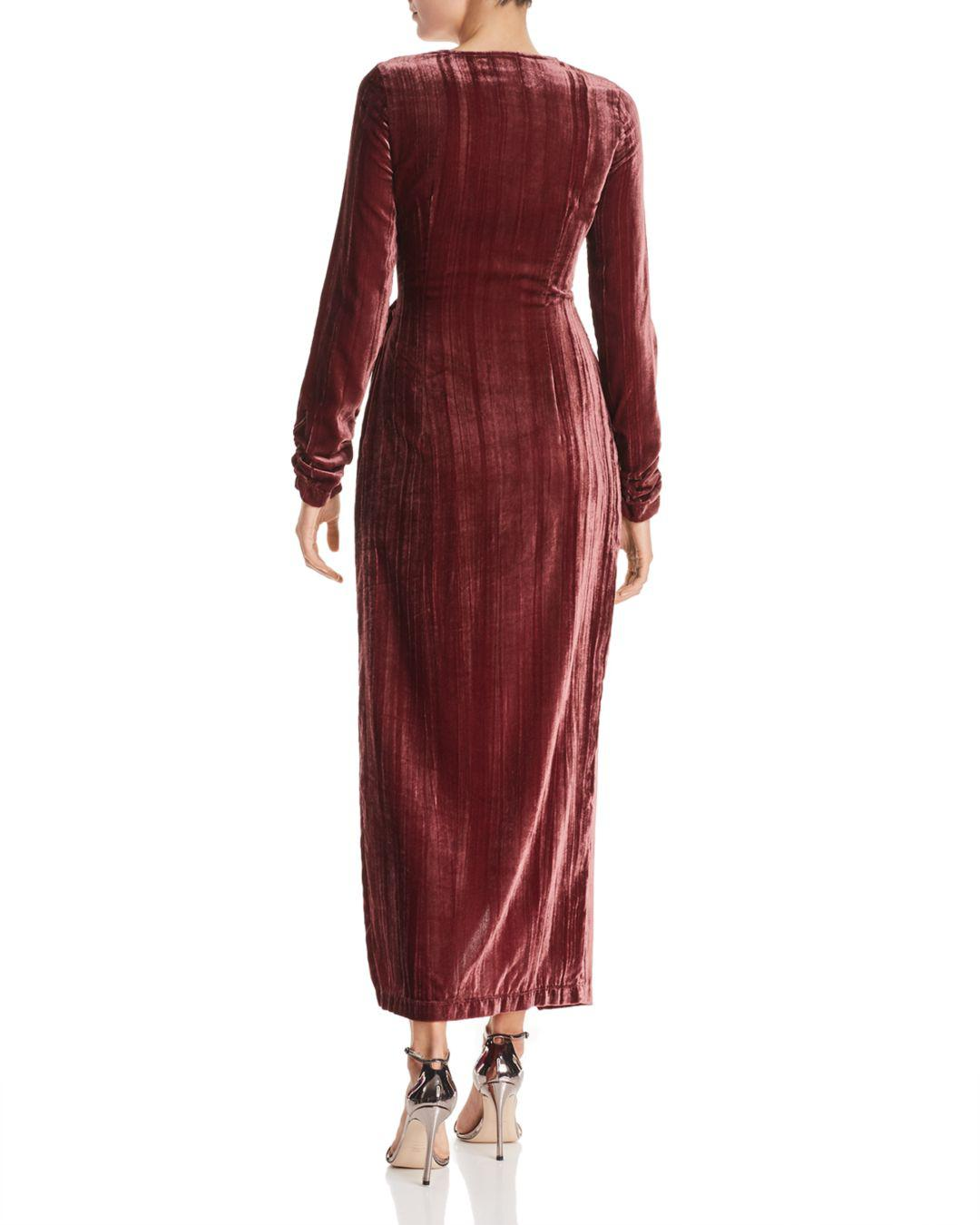 77cbdfc205717 Lyst - Donna Mizani Austen Velvet Wrap Gown in Red
