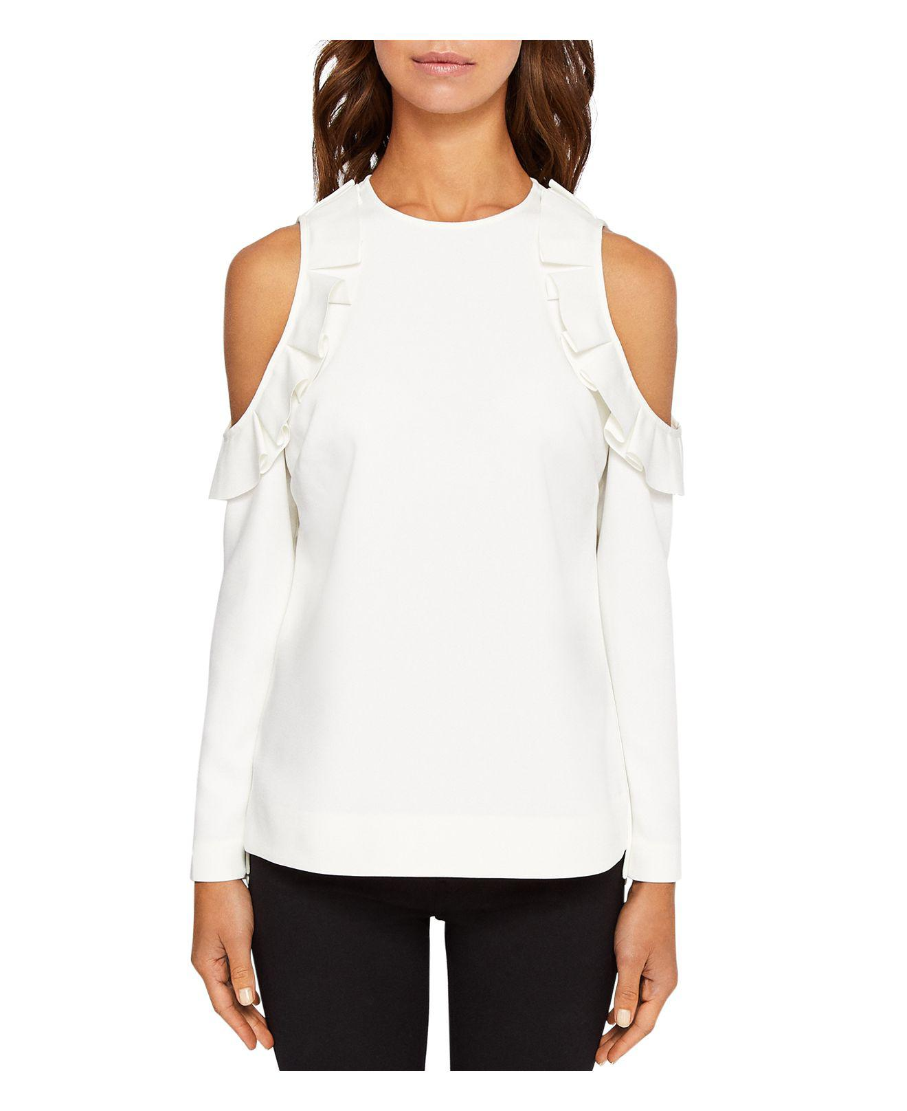 b09ec821f5607 Lyst - Ted Baker Steffe Ruffle Cold-shoulder Top in White