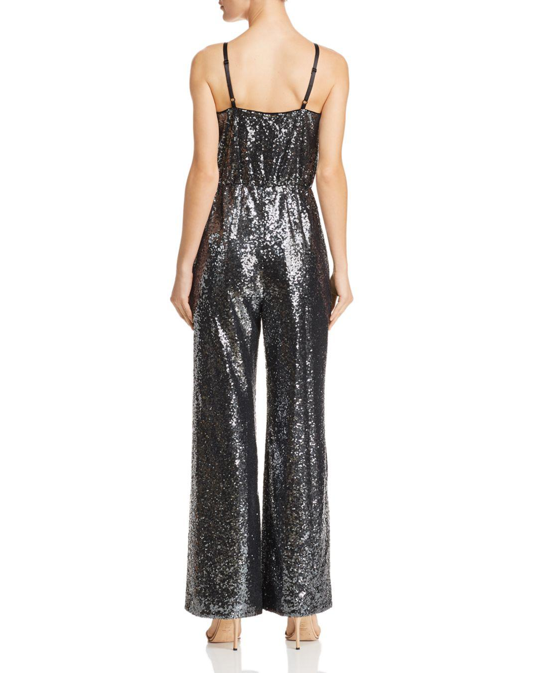 2064cf45800 Lyst - Laundry by Shelli Segal Plunging Sequined Jumpsuit in Black