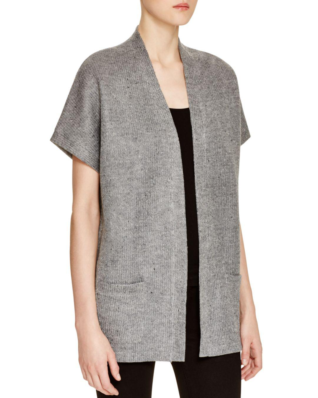 1054403f21 Majestic Filatures Short Sleeve Donegal Cardigan in Gray - Lyst