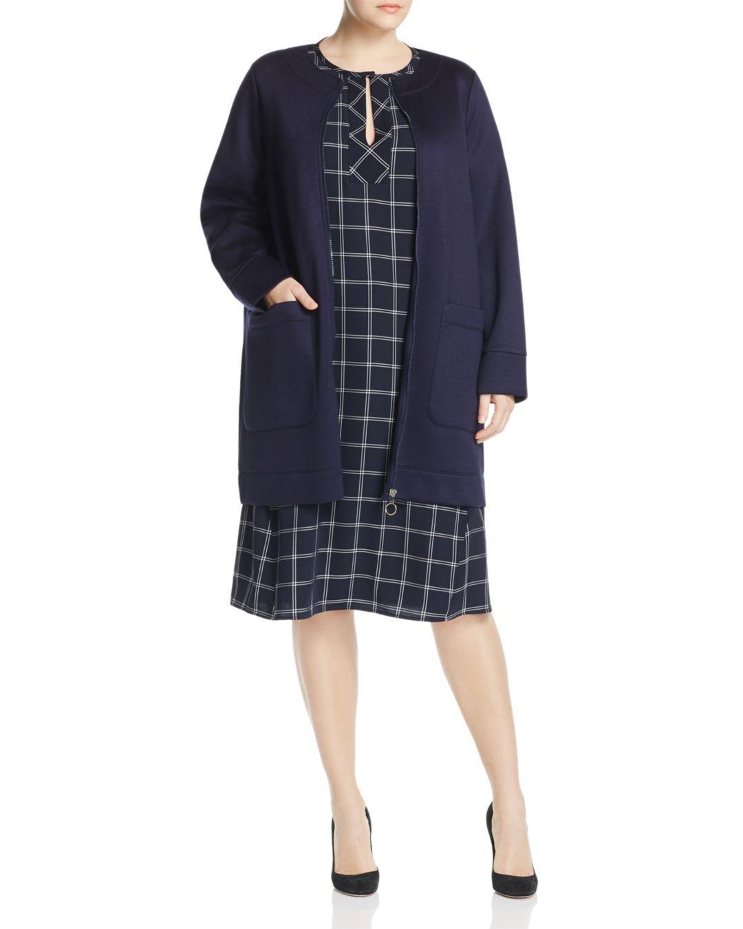 Lyst - Marina Rinaldi Occupare Front-zip Coat in Blue 59fedefa78f