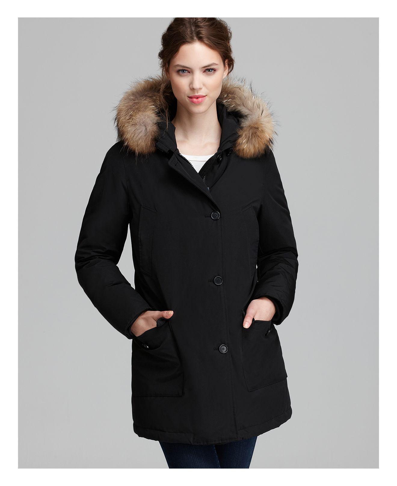 lyst woolrich parka arctic fur trim in black. Black Bedroom Furniture Sets. Home Design Ideas