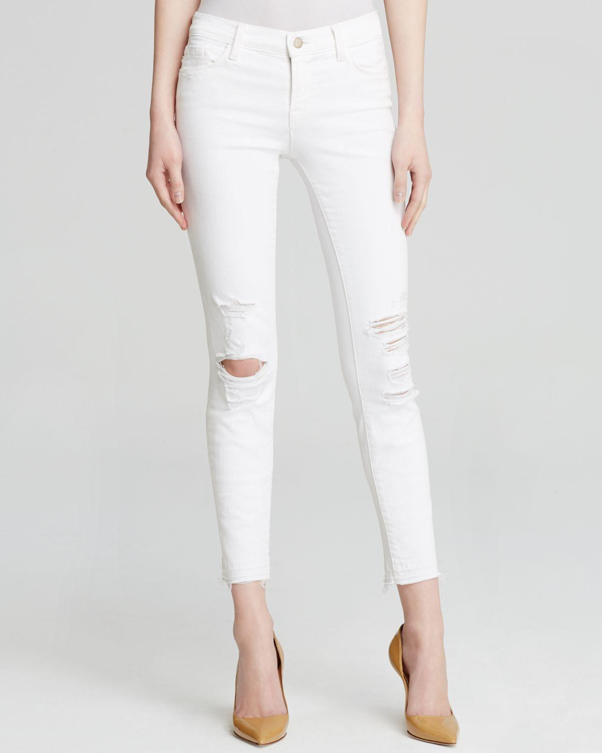 J brand Jeans - Low Rise Ankle Skinny In Demented in White | Lyst