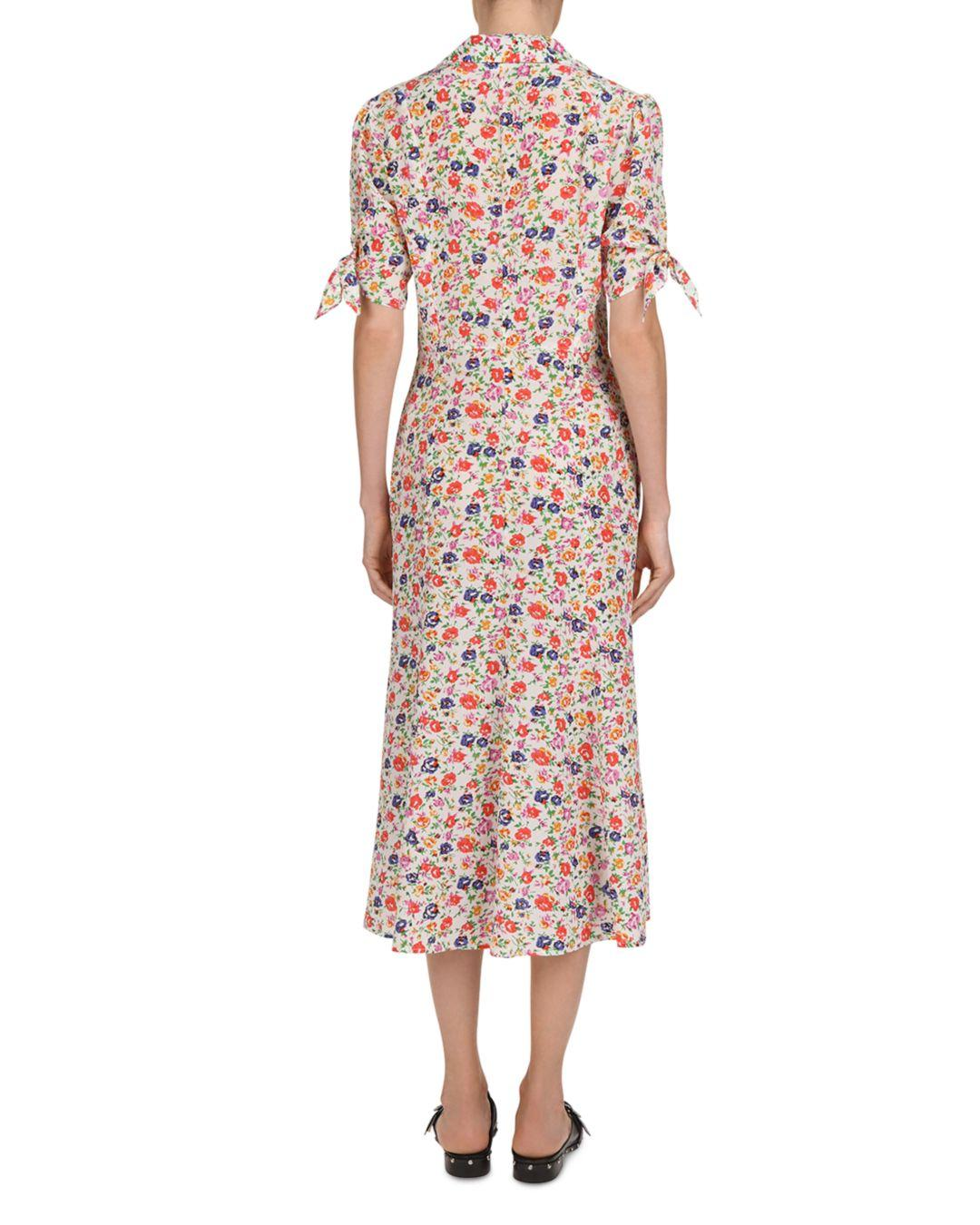 2886b059602 The Kooples Free Flowers Tie - Cuff Silk Midi Dress - Lyst