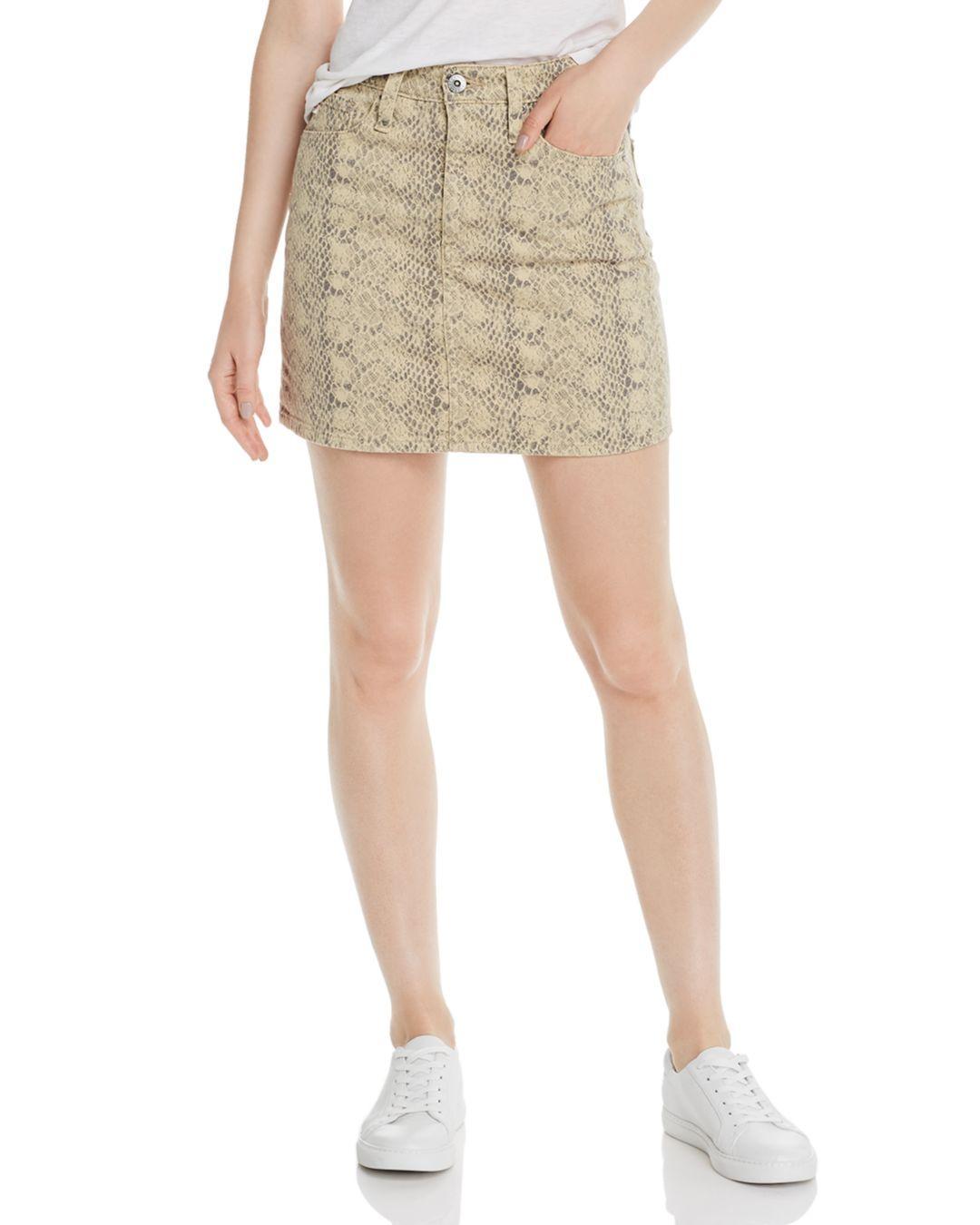 0d0882cb48 AG Jeans Vera Snake Print Denim Miniskirt in Natural - Lyst