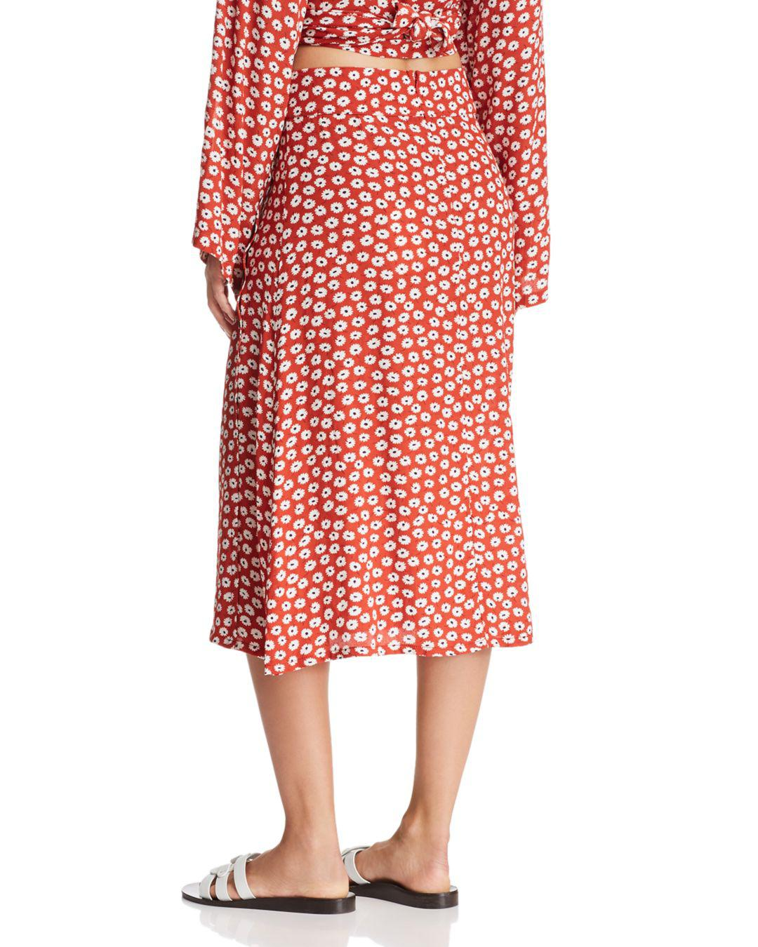 29452ce2ee Faithfull The Brand Joy Floral Midi Skirt in Red - Lyst