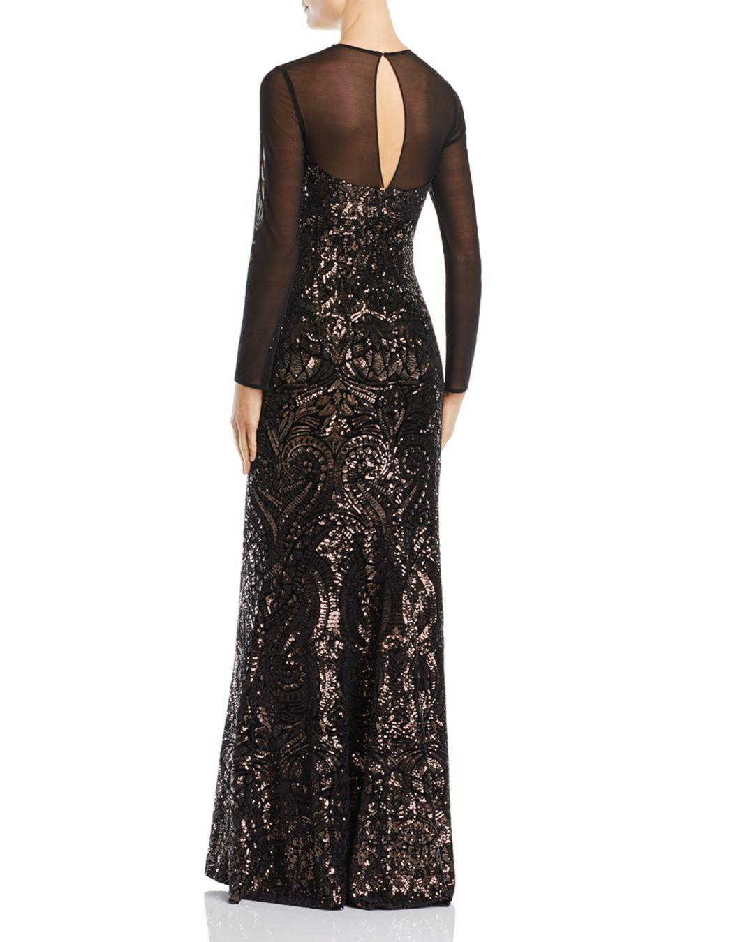 63e92bf6d6 Lyst - Betsy   Adam Sequined Illusion Gown in Black