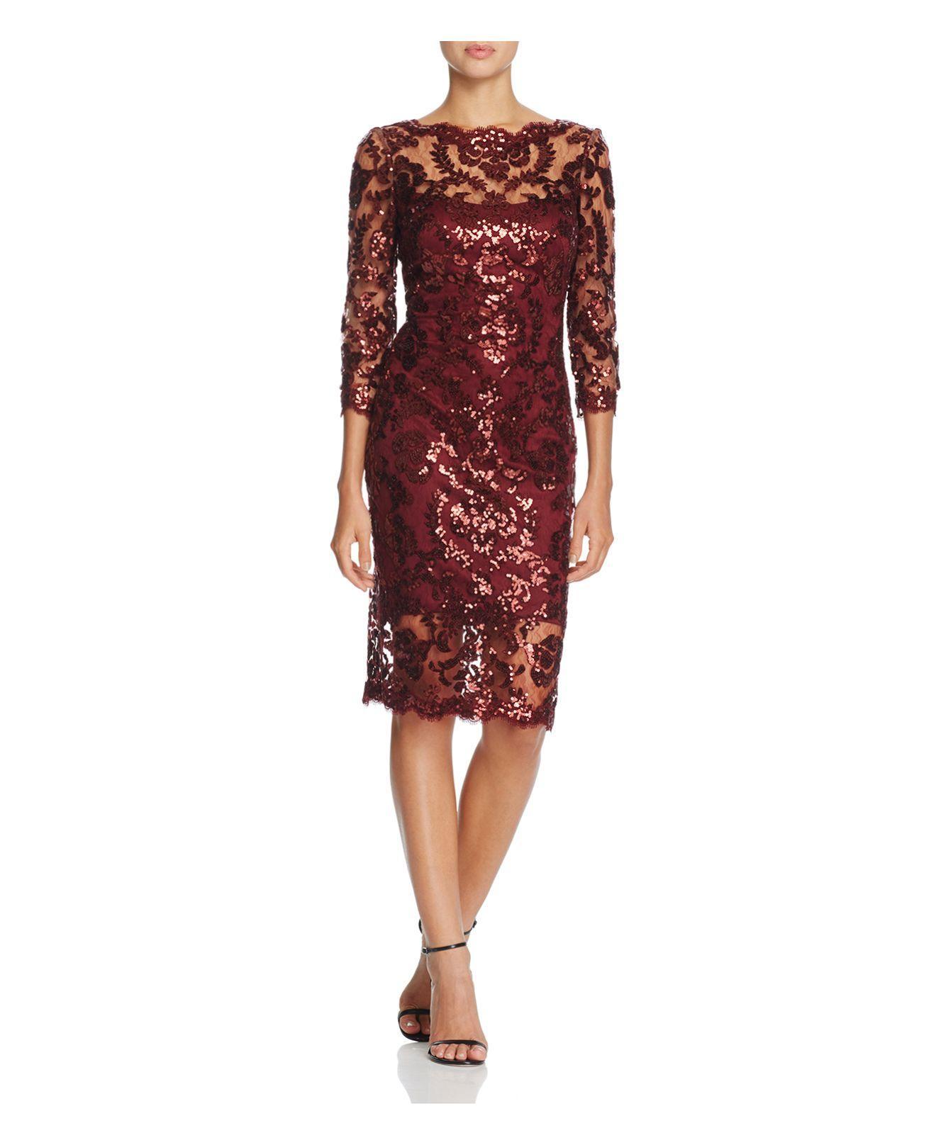 Tadashi Shoji Three Quarter Sleeve Sequin Lace Dress In