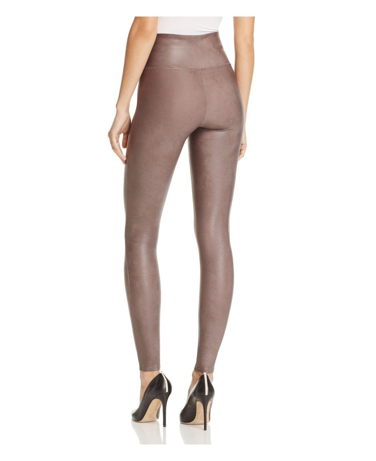 Spanx Faux Leather Leggings In Brown Lyst