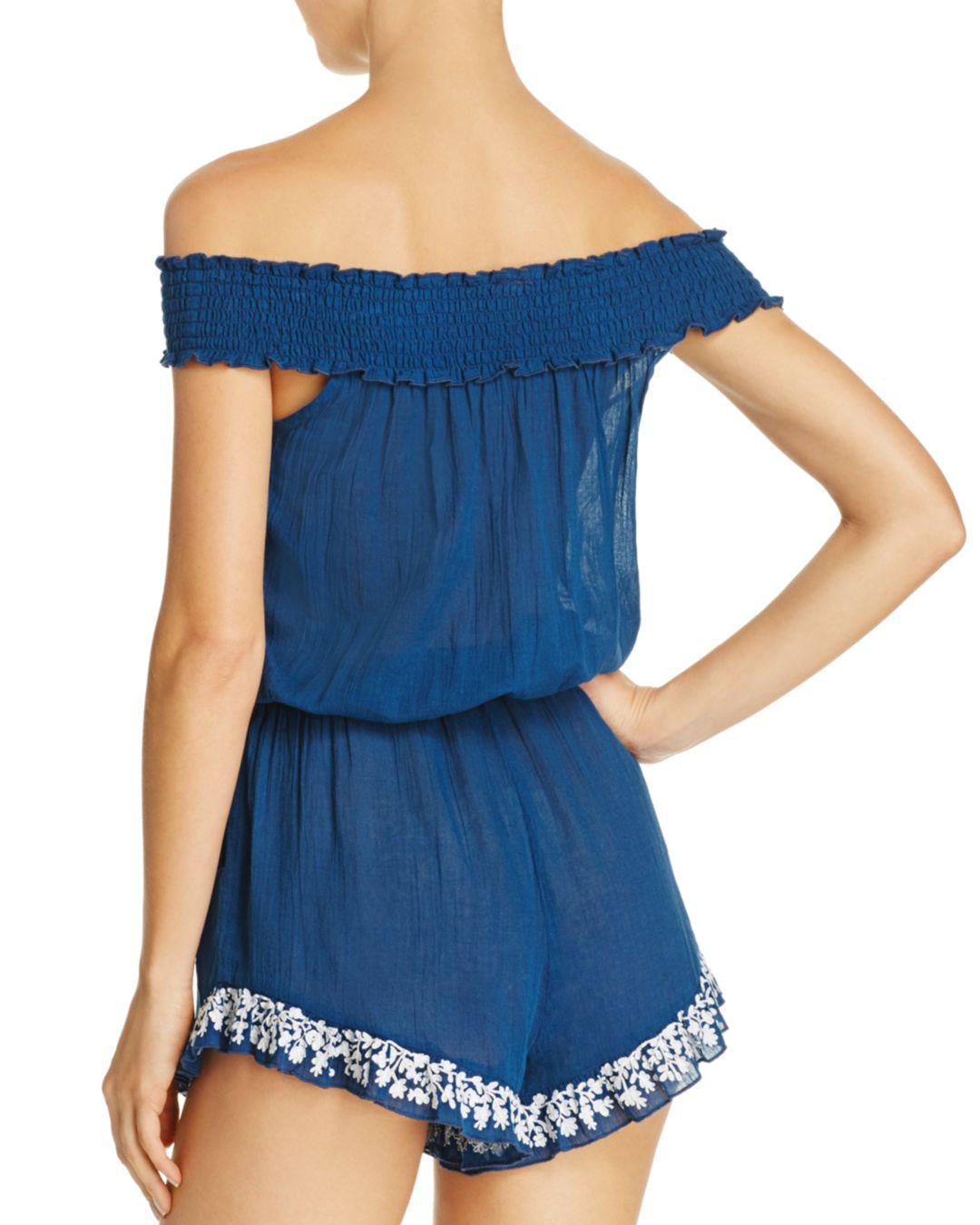fd33c749d83df Lyst - Lucky Brand Stitch In Time Romper Swim Cover-up in Blue