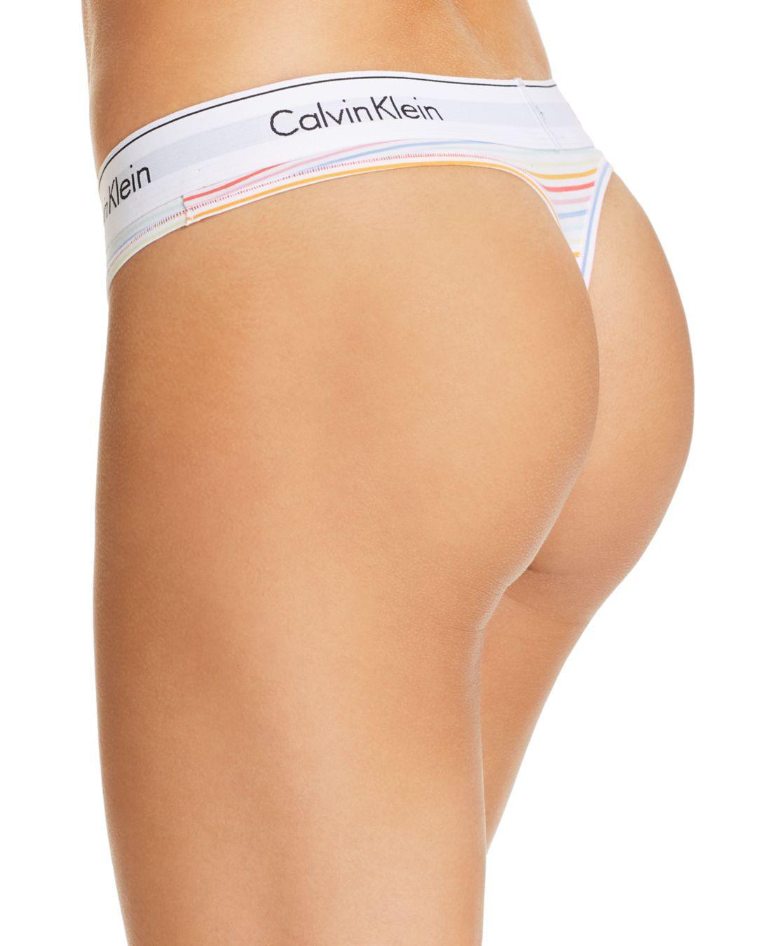 2c900659d4fe86 Calvin Klein Modern Cotton Pride Thong in White - Lyst