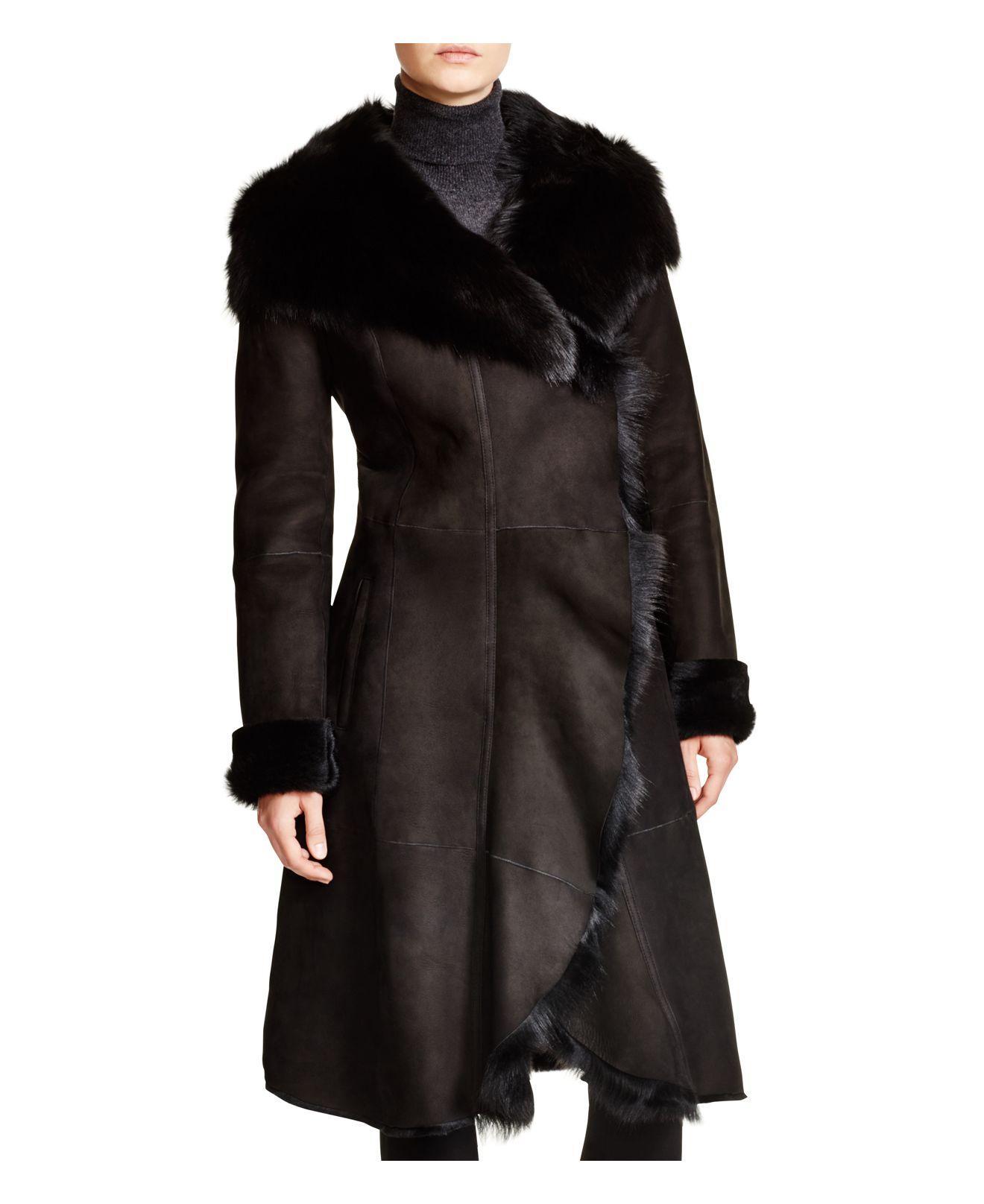 Maximilian Maximilian Shearling Coat With Toscana Collar in Black ...