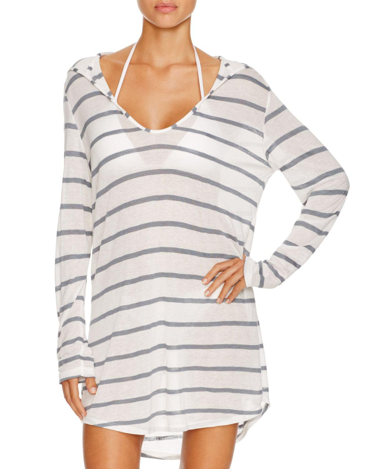 f2e5d4aa98 Lyst - Splendid Hooded Knit Tunic Swim Cover-up in Gray