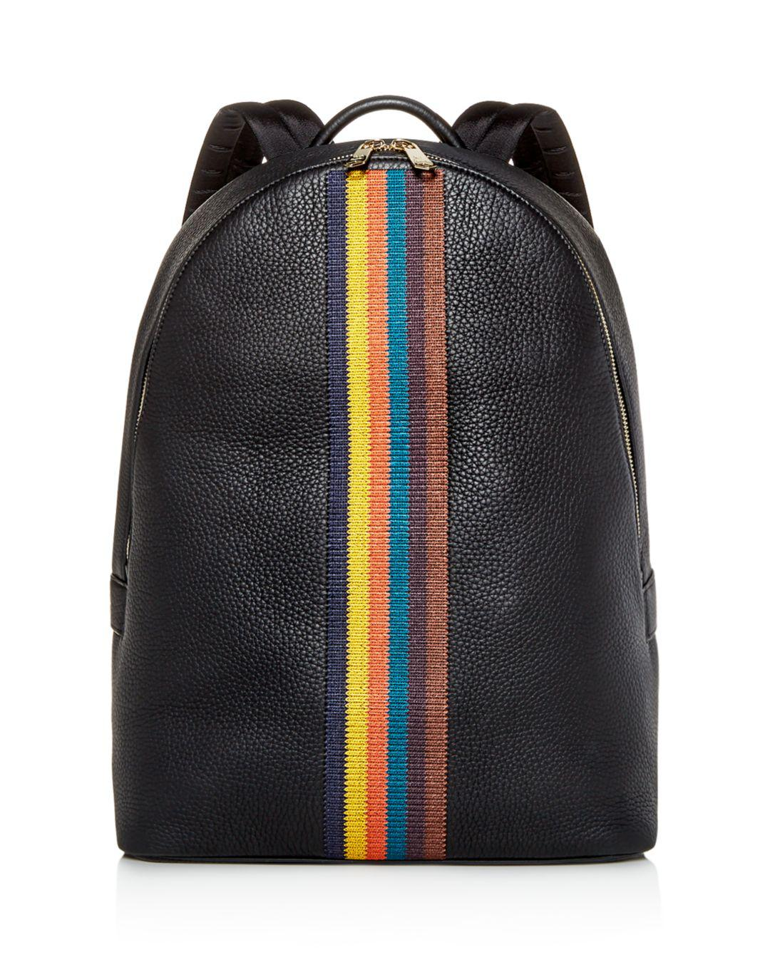 Lyst - Paul Smith Embroidered Stripe Leather Backpack in Black for ... 6986a77ae