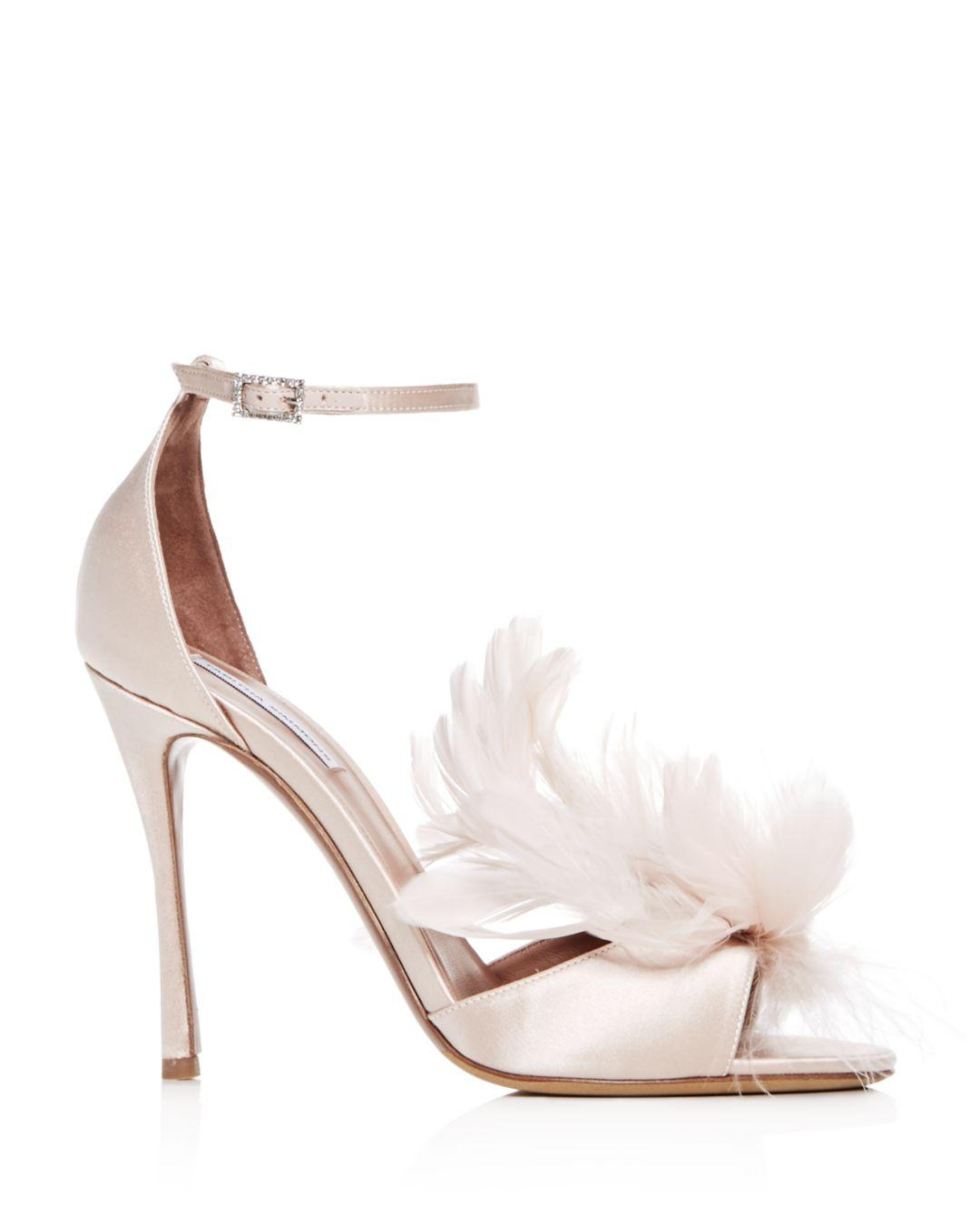 f4220f1529d Lyst - Tabitha Simmons Women s Satin   Feather High-heel Sandals in Pink