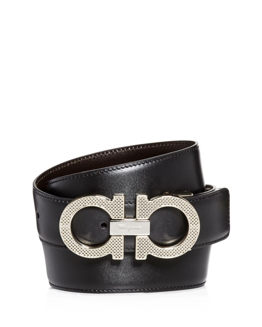 e9442f49e2d47 Ferragamo. Men s Black Etched Double Gancini Buckle Reversible Leather Belt