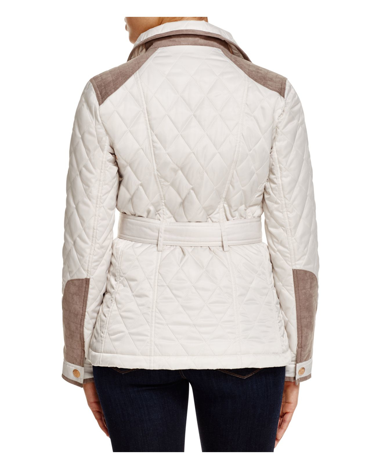 Lyst Vince Camuto Belted Diamond Quilted Jacket In White