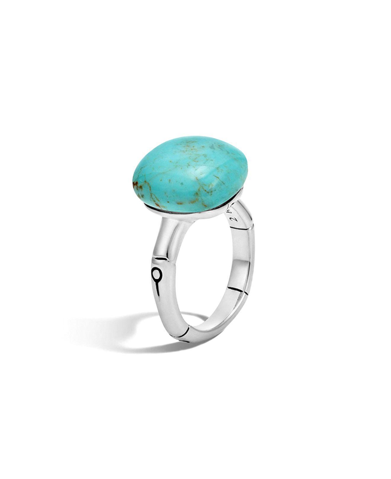John hardy Batu Bamboo Silver Ring With Turquoise in ...