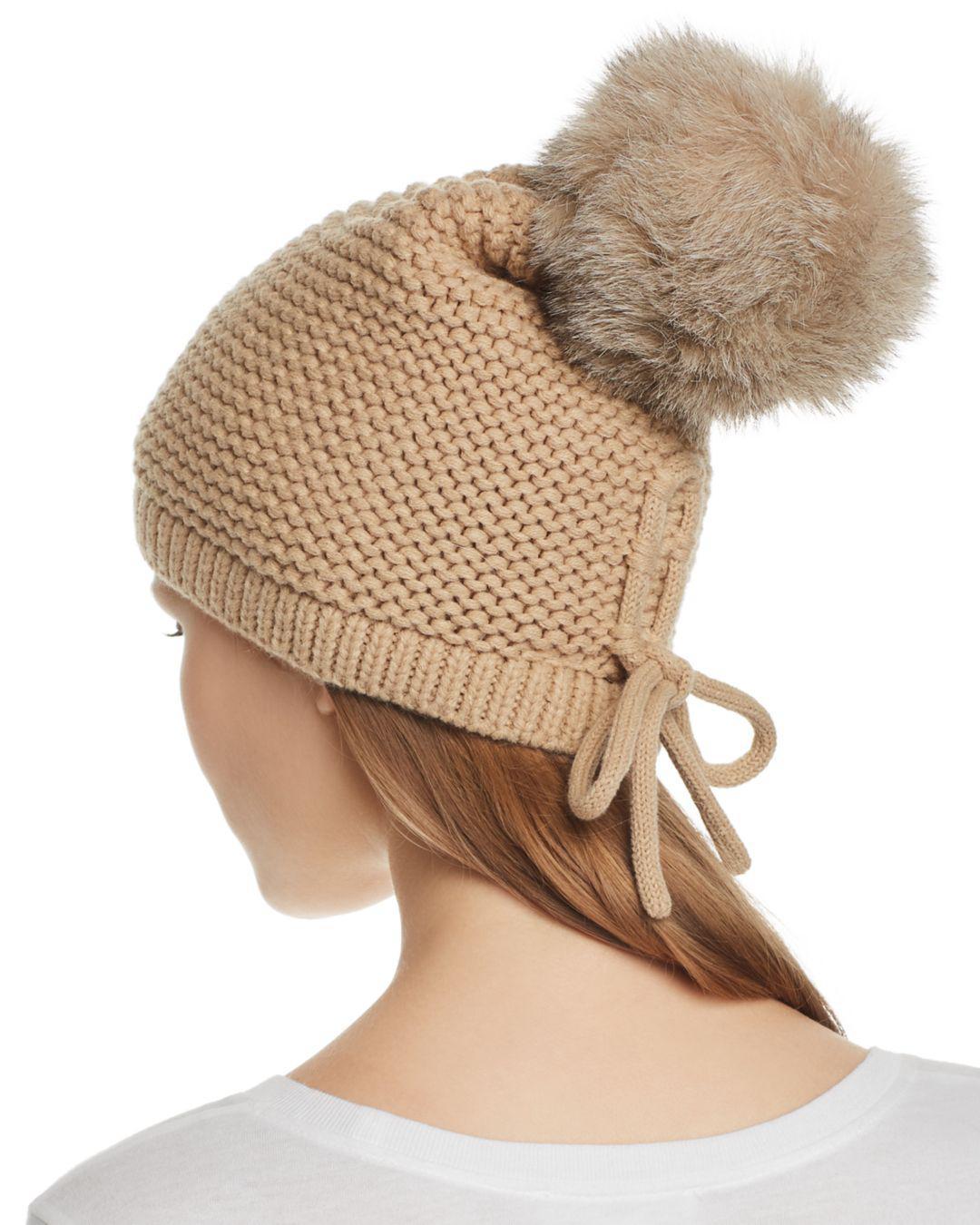1346975d7 Kyi Kyi Slouchy Hat With Fox Fur Pom-pom in Brown - Lyst