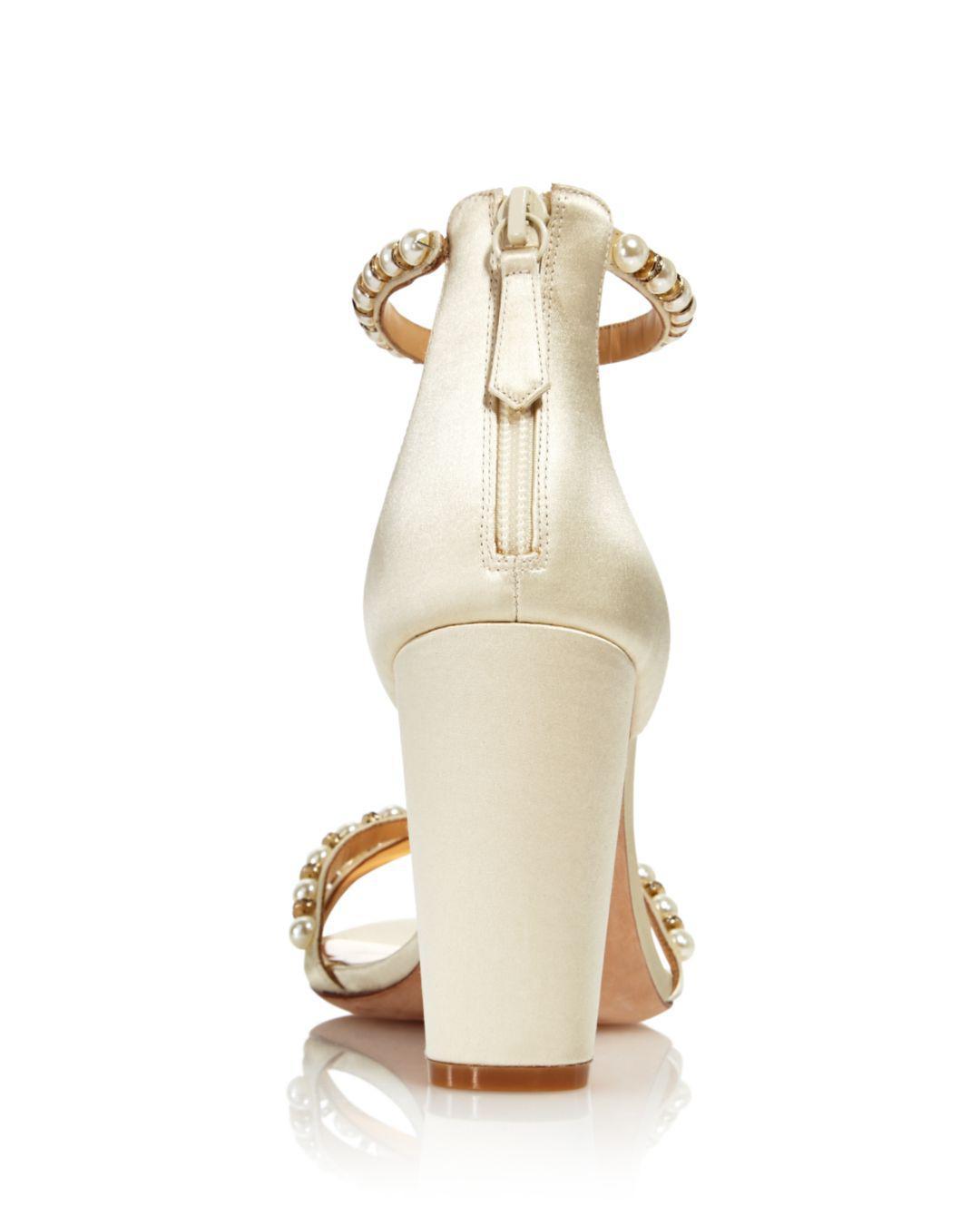 e2a4d52614 Badgley Mischka Women's Hooper Embellished Satin High Block Heel ...