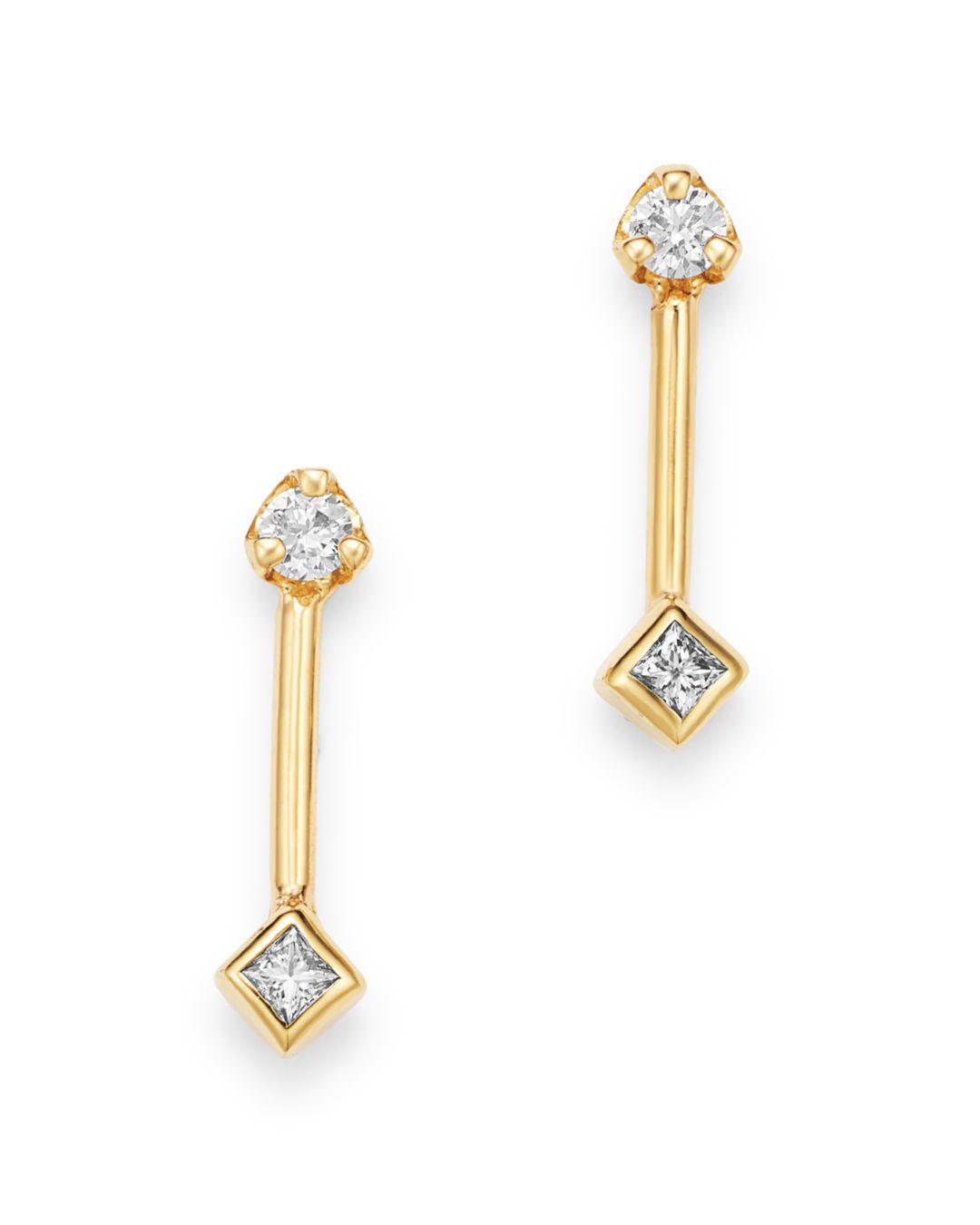 5fb425f82369a Lyst - Zoe Chicco 14k Yellow Gold Diamond Barbell Stud Earrings in ...