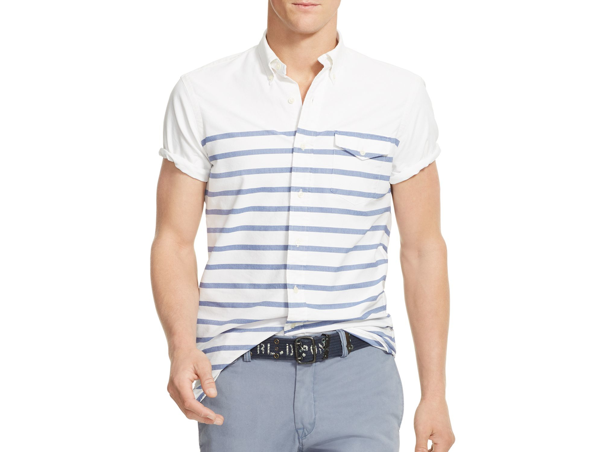 Polo ralph lauren striped oxford regular fit button down for Striped button down shirts for men