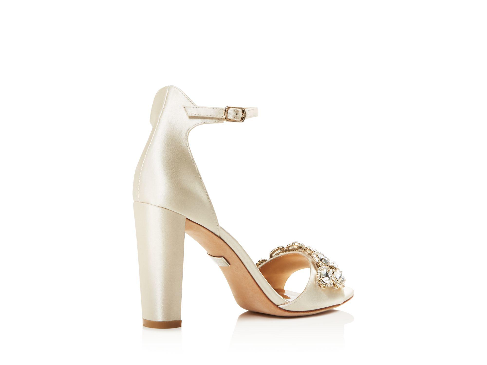 6af68301d3b4 Badgley Mischka Lenox Embellished Block Heel Sandals in White - Lyst