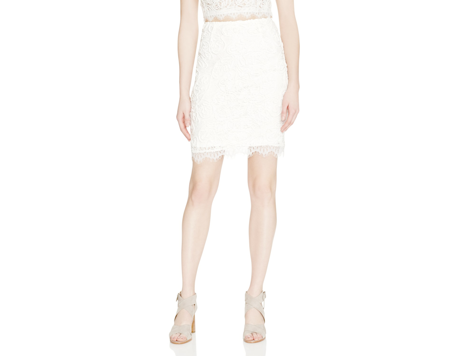 aqua lace pencil skirt in white lyst