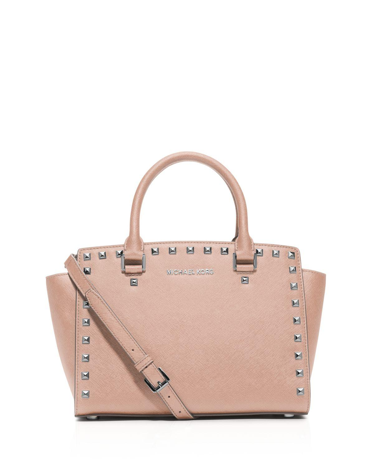 83a07e470bf6 ... italy michael michael kors satchel selma stud medium in pink ly 143e4  06aef
