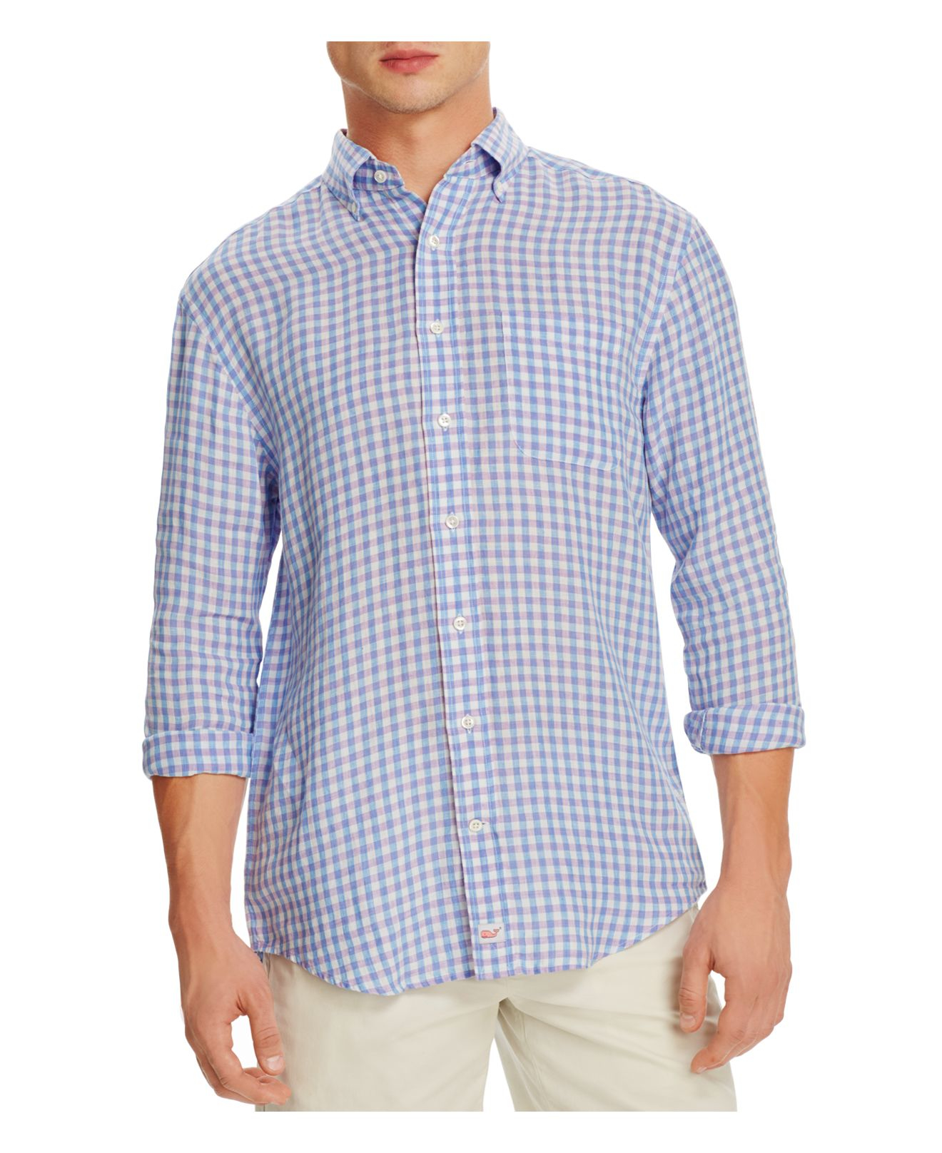 Vineyard vines meadowbrook gingham tucker slim fit button for Blue gingham button down shirt
