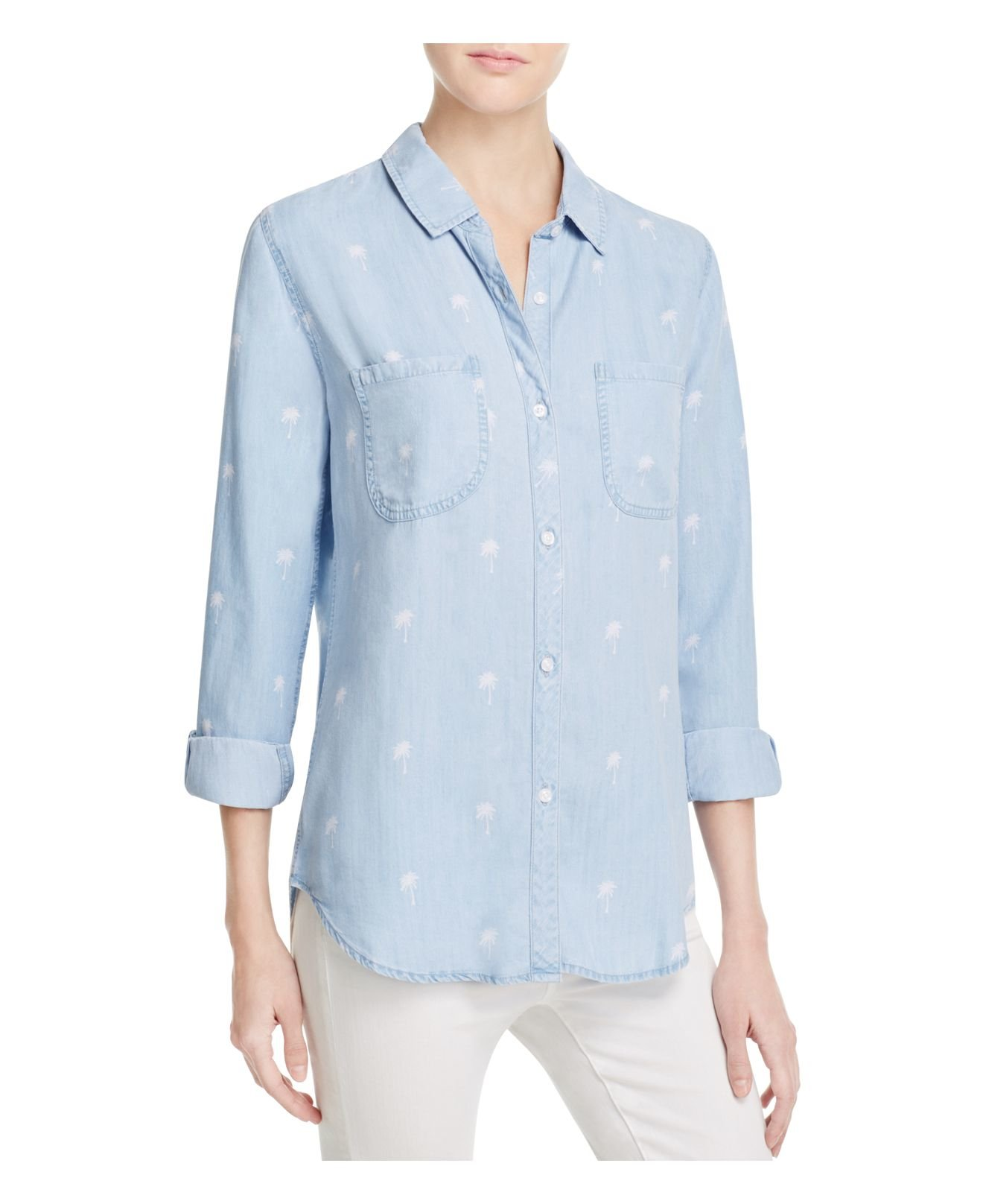 Lyst rails carter chambray shirt in blue for Chambray 7 s