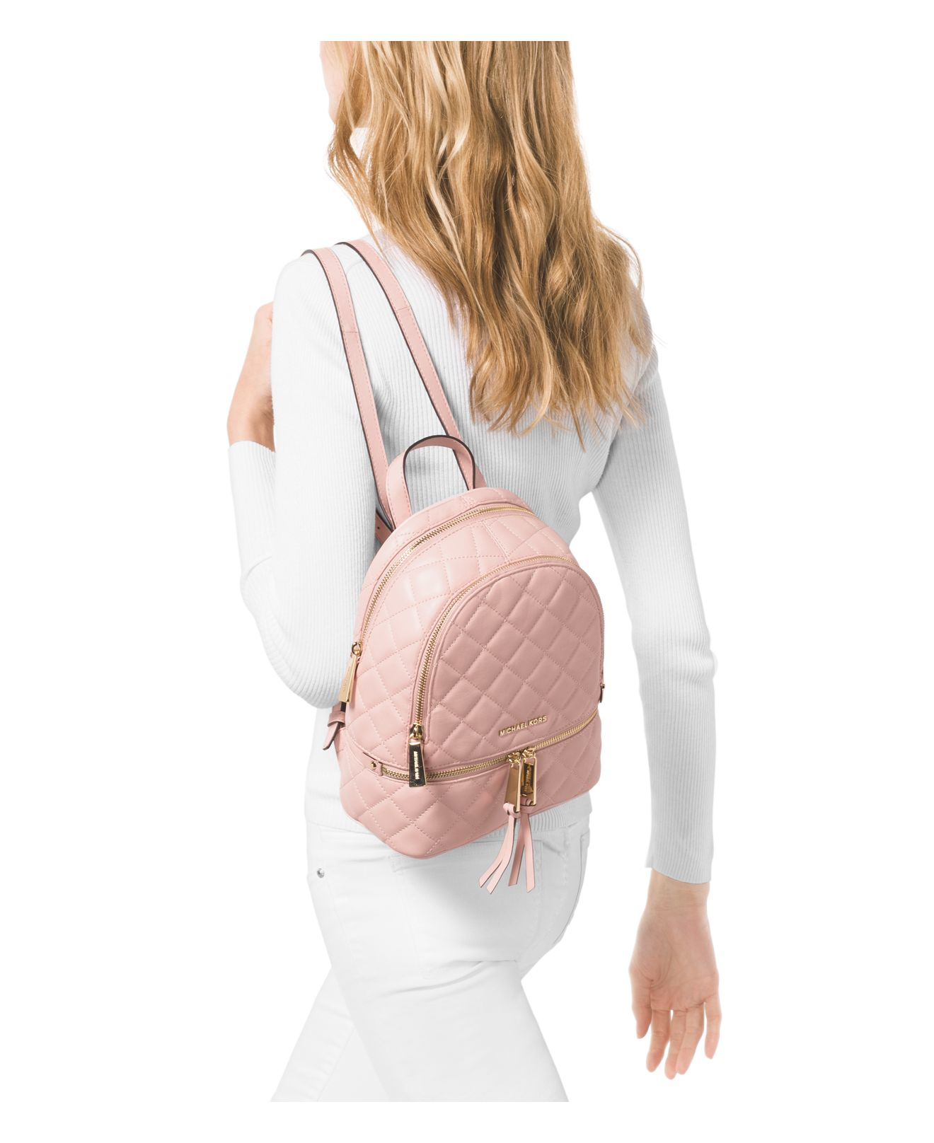 5ef7d99070a7 ... germany michael michael kors small rhea zip messenger backpack in pink  lyst 89d55 63910