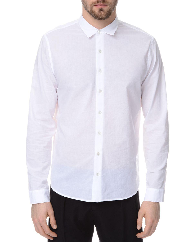 Atm atm classic cotton slim fit button down shirt in white for Slim fit white button down shirt