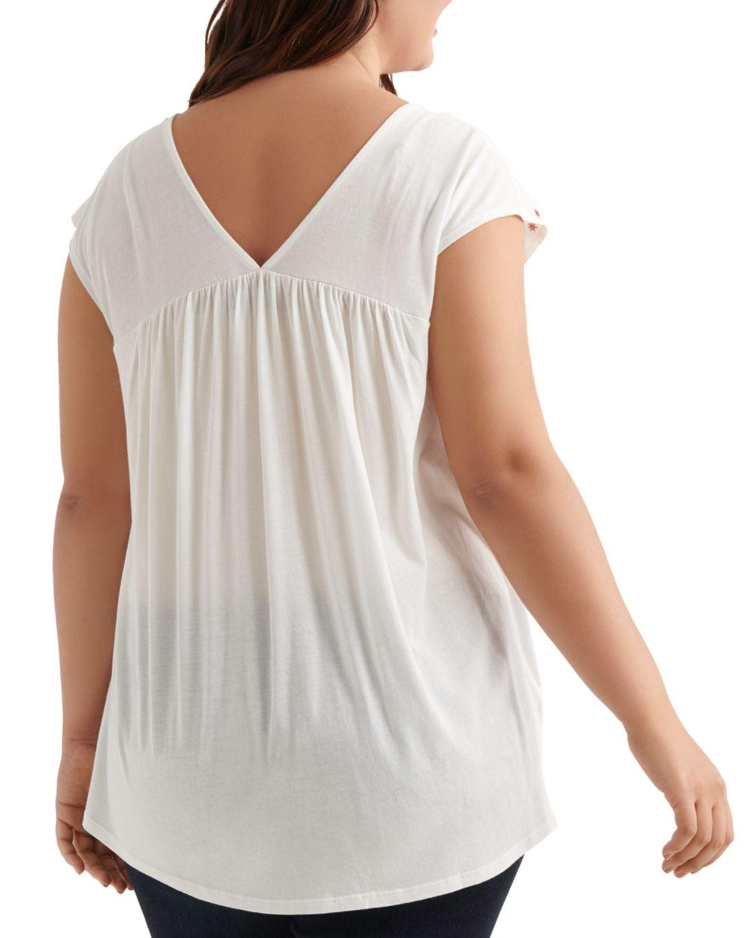 1bac59b7c452 Lyst - Lucky Brand Floral Embroidered Top in White