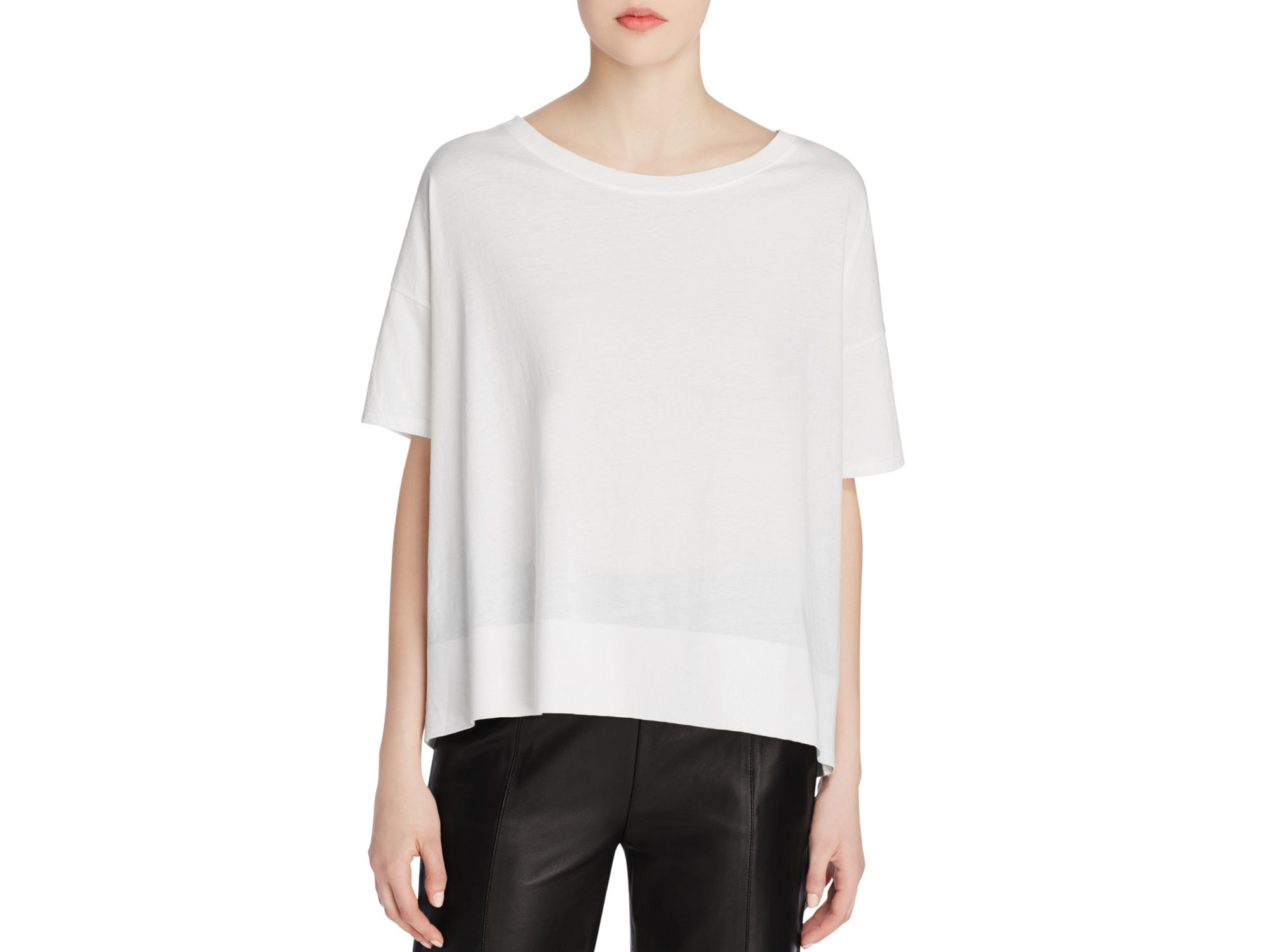 Vince Boat Neck Tee In White Off White Lyst