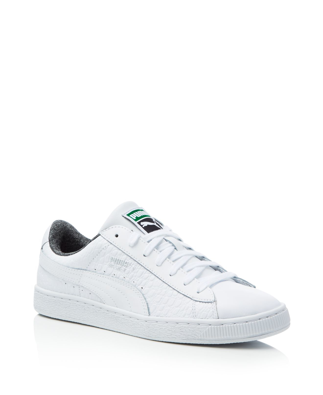 puma men 39 s basket classic textured lace up sneakers in white for men lyst. Black Bedroom Furniture Sets. Home Design Ideas