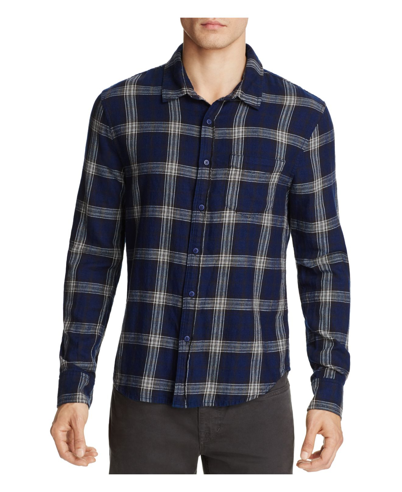 Joe 39 s jeans plaid flannel slim fit button down shirt in for Mens slim fit flannel shirt