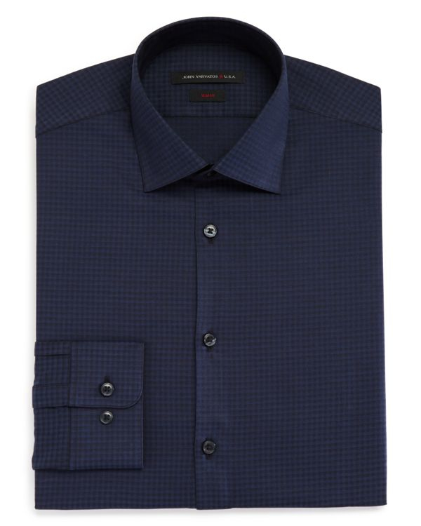 John varvatos textured micro gingham check slim fit dress for Mens gingham dress shirt