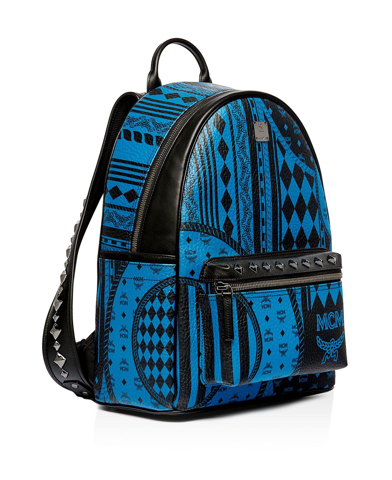lyst mcm stark baroque print backpack in blue. Black Bedroom Furniture Sets. Home Design Ideas