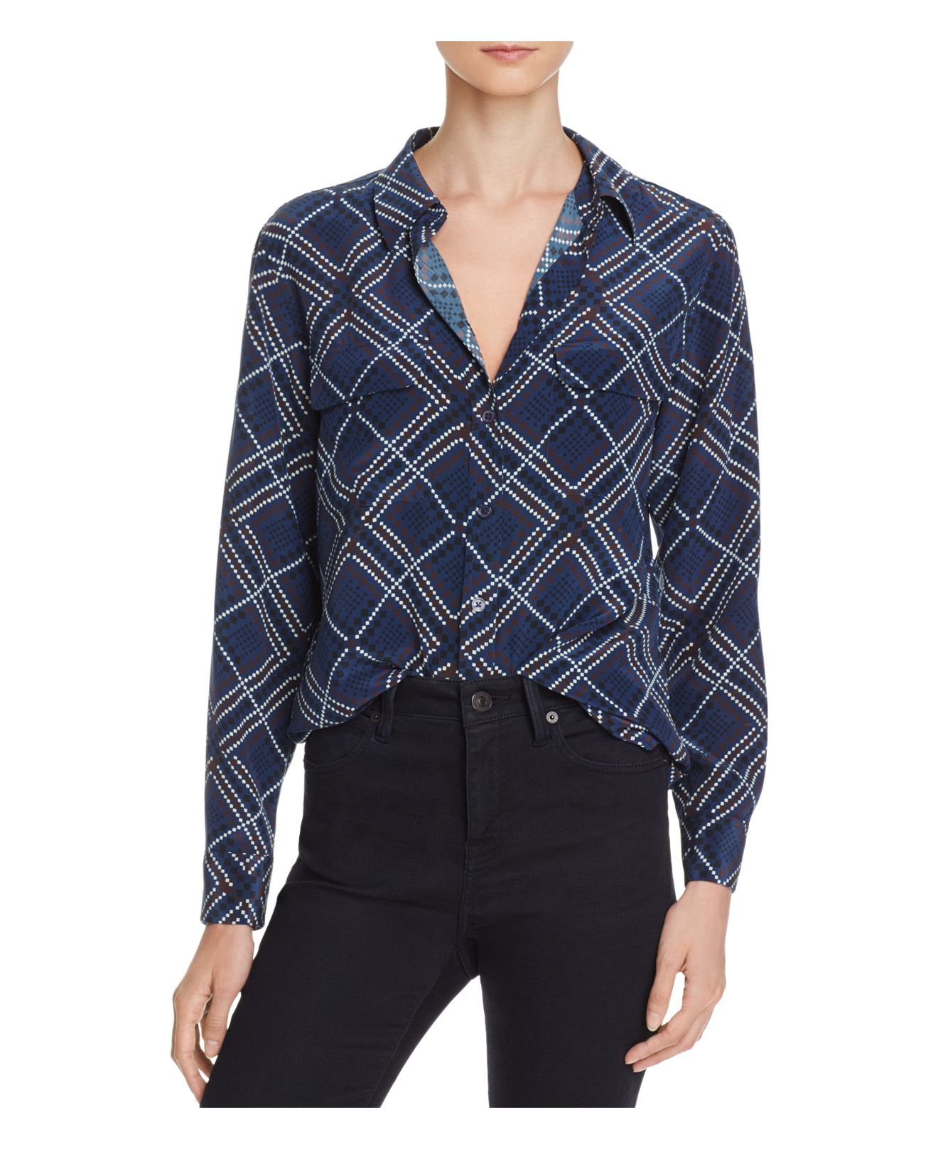 Lyst equipment slim signature diamond print silk shirt for Diamond and silk t shirts