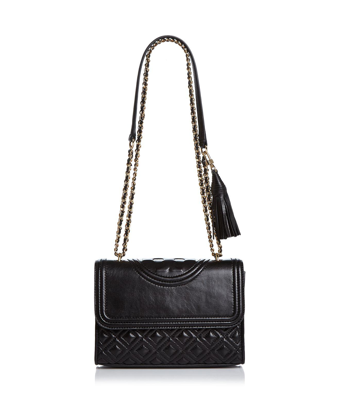 Tory burch Fleming Convertible Small Leather Shoulder Bag in Black ...