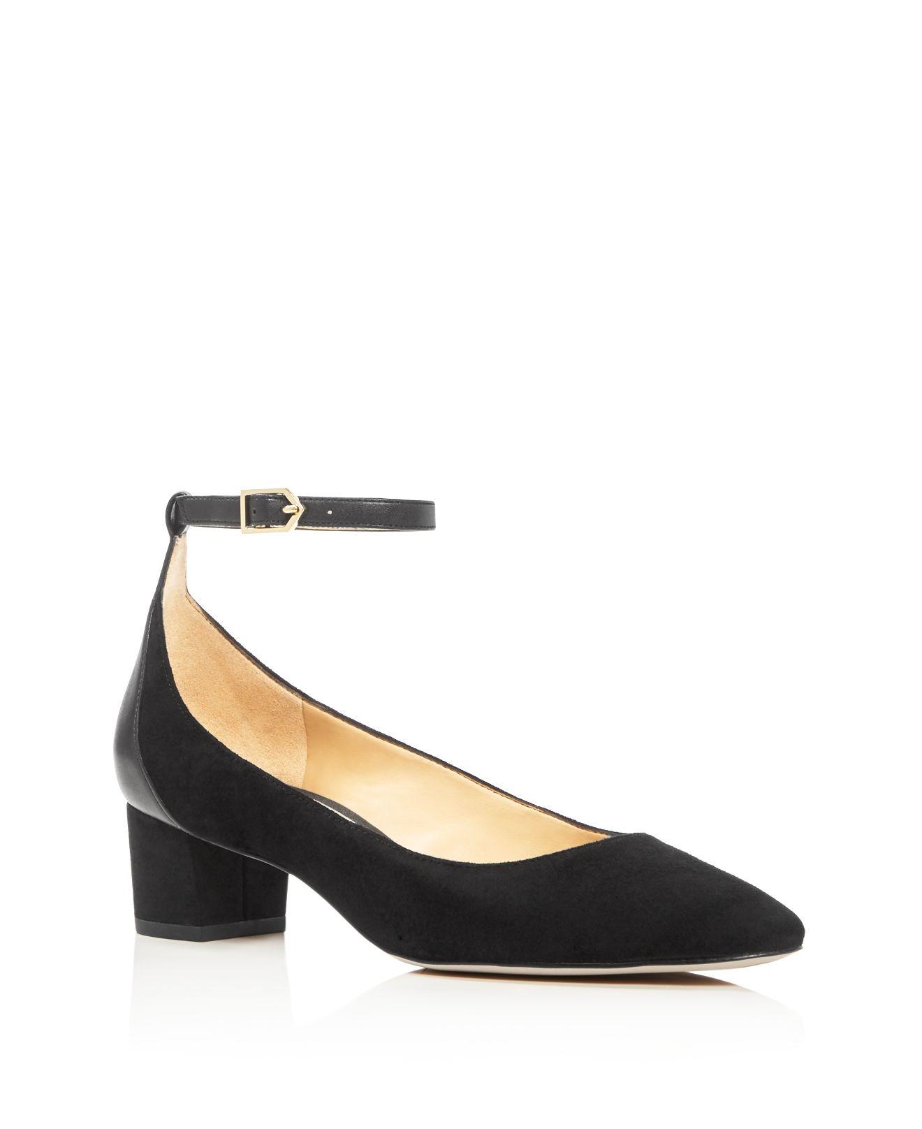 Sam Edelman Lola Ankle Strap Low Heel Pumps In Black Lyst