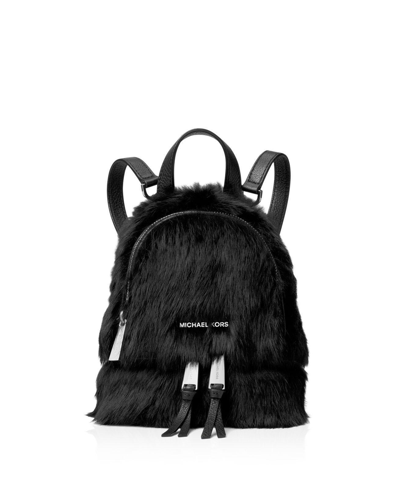 9f12e784515ee ... order michael michael kors shearling fur backpack in black lyst 031ea  820f5 ...