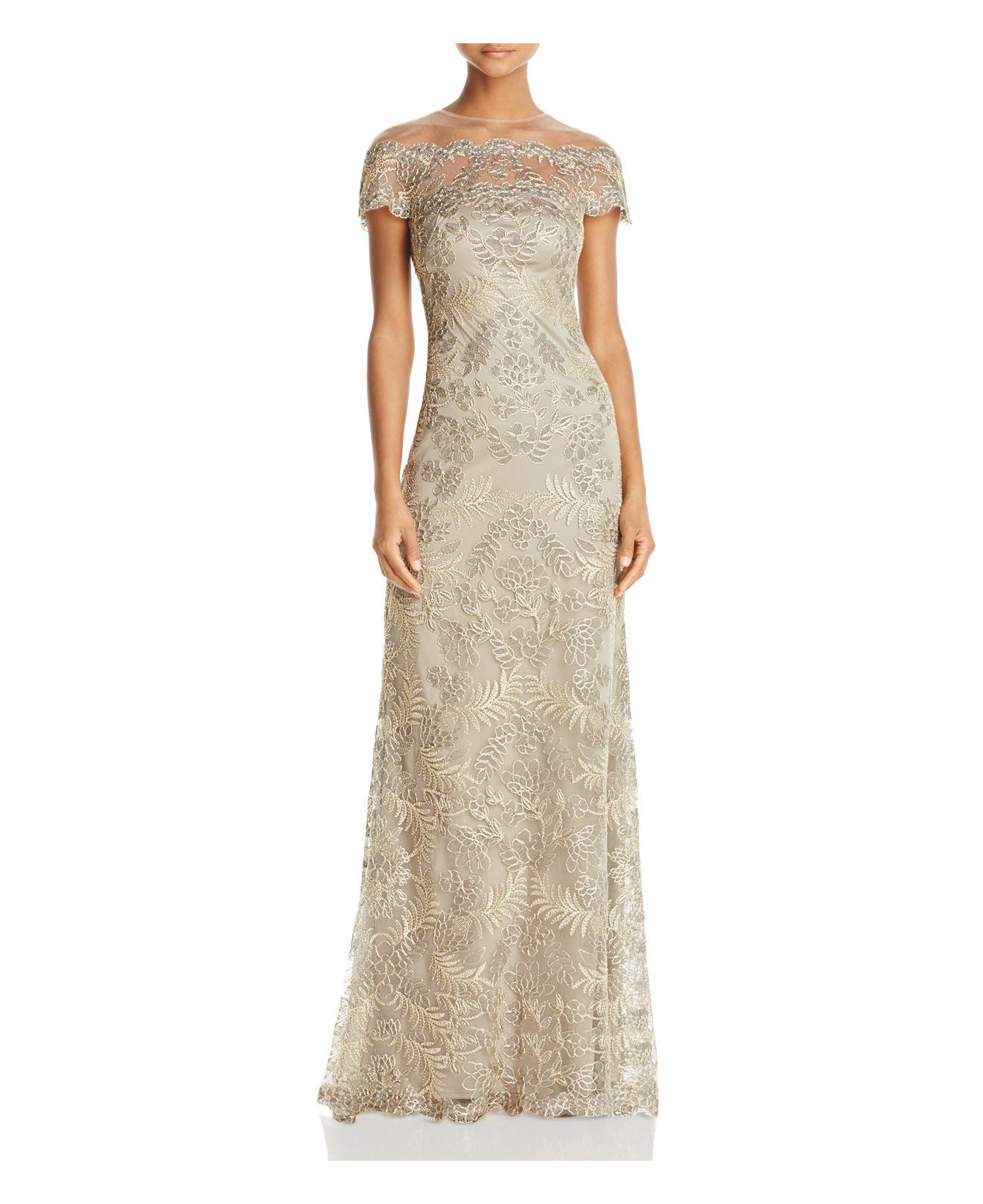 e70df4150fd Lyst - Tadashi Shoji Illusion Off-the-shoulder Lace Gown