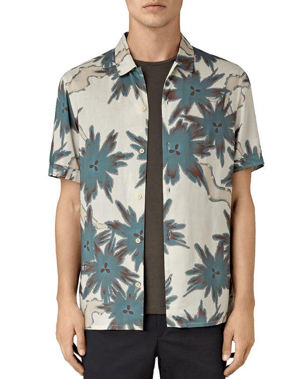 Allsaints zapata slim fit button down shirt in green for for Slim fit white button down shirt