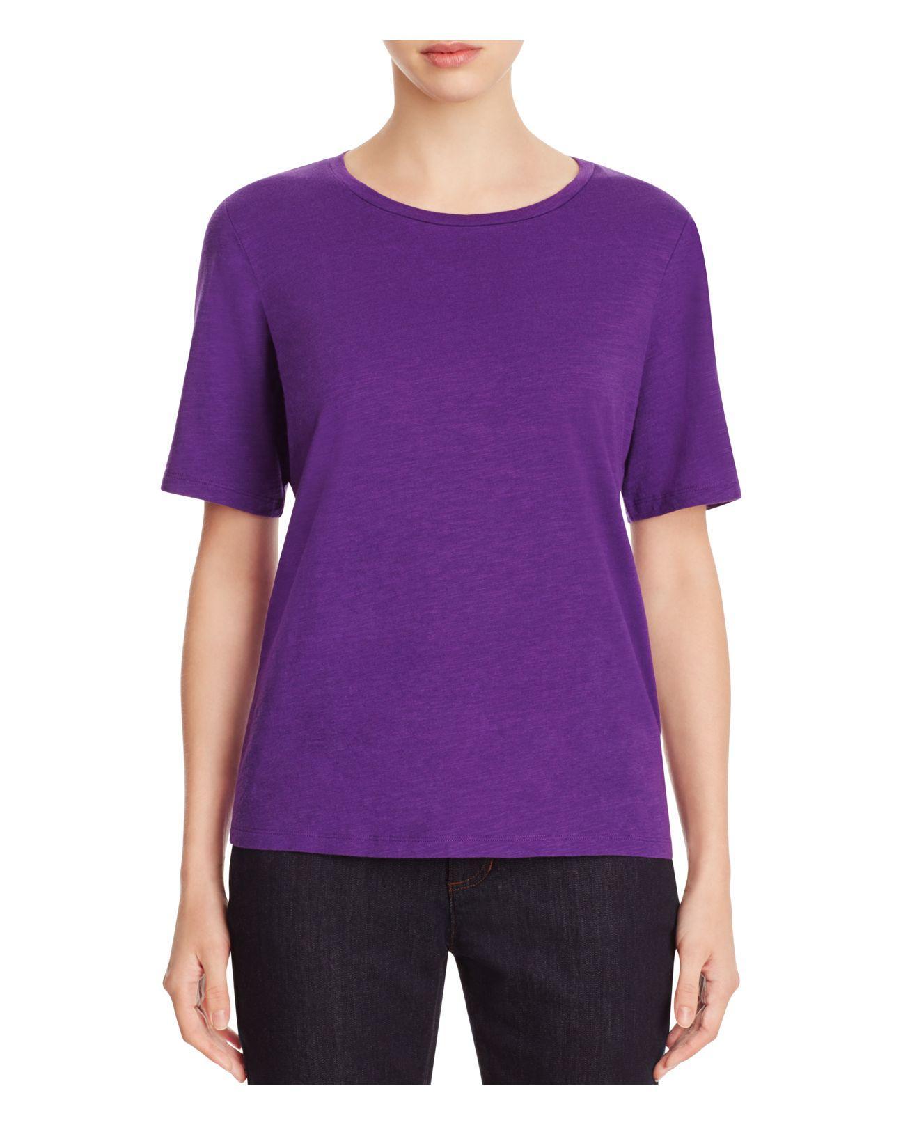 Lyst eileen fisher organic cotton heathered tee in purple for Eileen fisher organic cotton t shirt