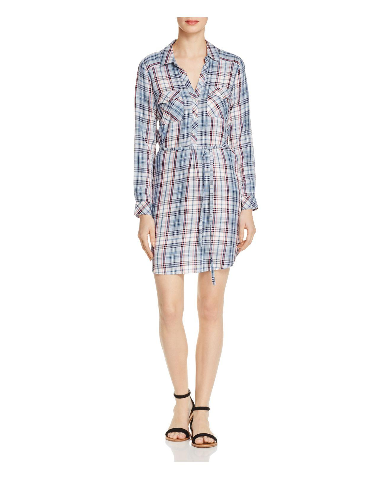 Lyst soft joie dashalynn plaid shirt dress in blue for Soft joie plaid shirt