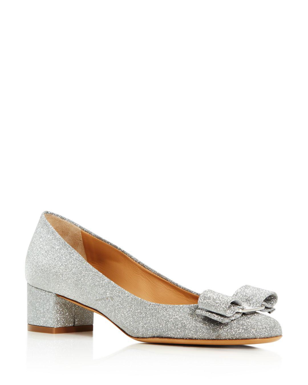 377a8bd9cc2 Lyst - Ferragamo Women s Vara Glitter Leather Block Heel Pumps