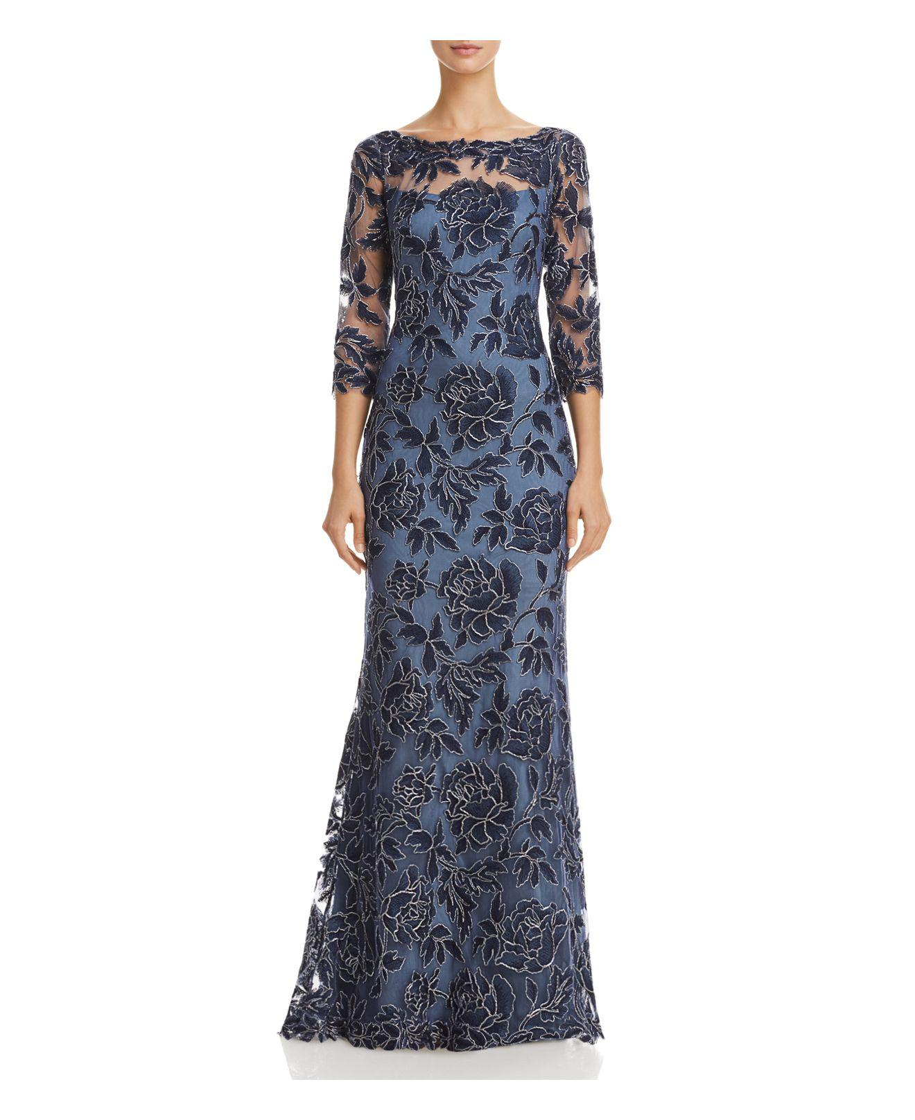 Tadashi Shoji. Women's Blue Embroidered Lace Gown